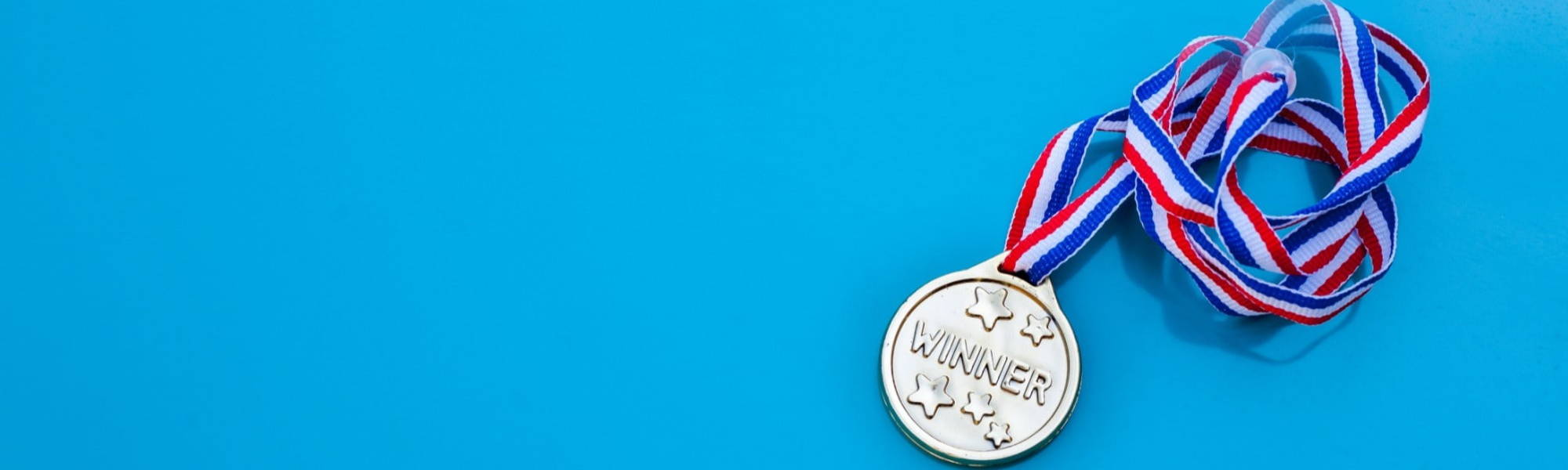 Winners Medal Blue Background