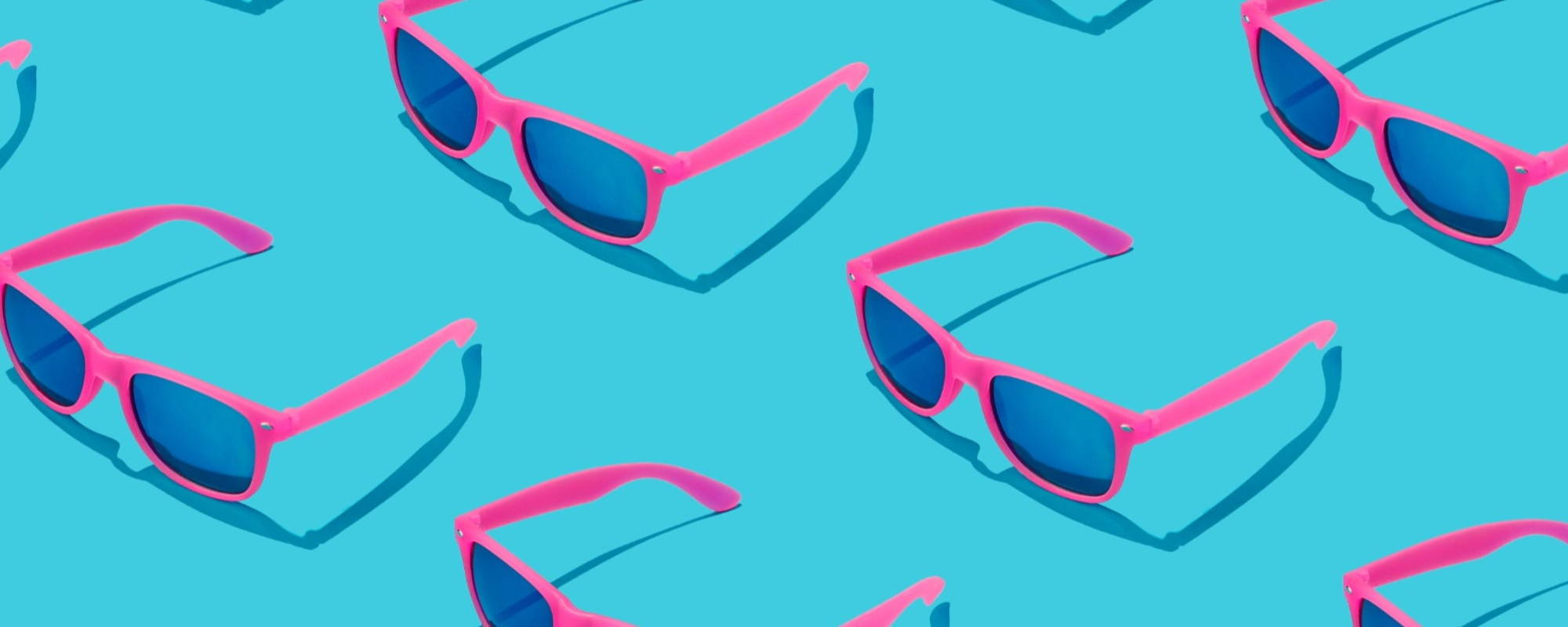 Pink Sunglasses Blue Background